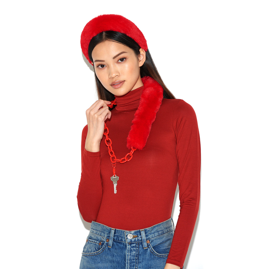 RIANNE | Red Faux Fur & Chain Lanyard