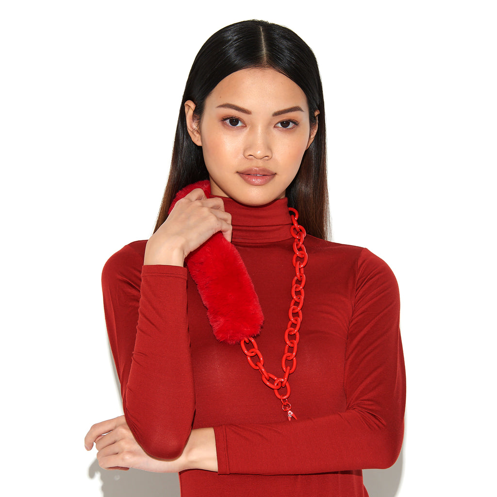 RIANNE | Red Faux Fur & Chain Lanyard, Lanyards, Tuleste, Tuleste