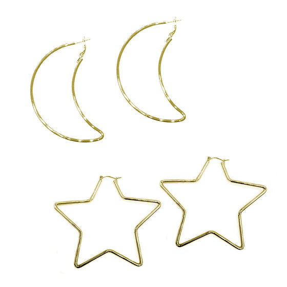Large Star and Moon Earring Set, Bundle, Tuleste, Tuleste