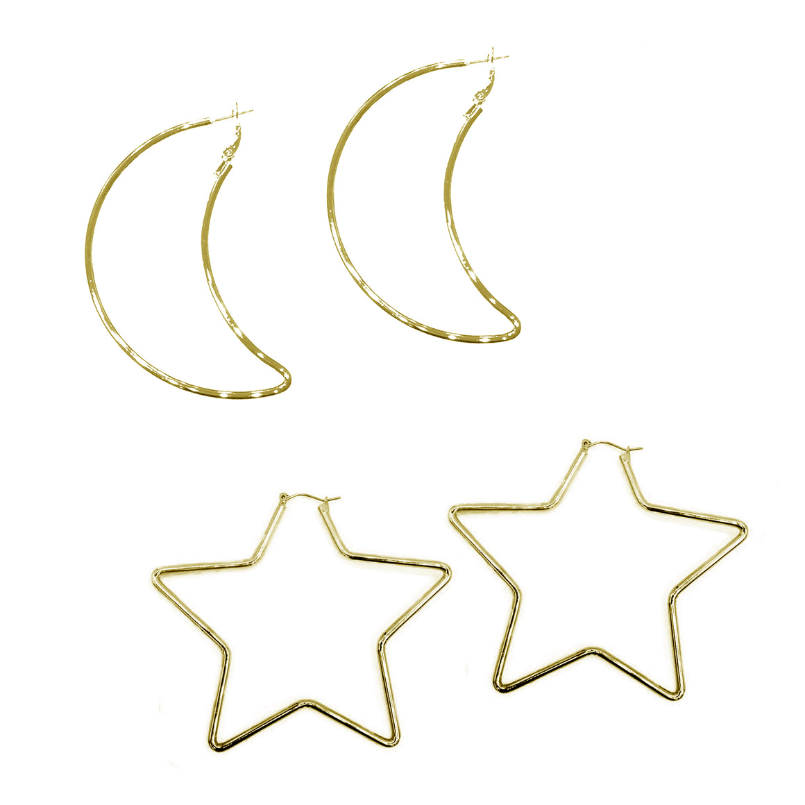 Large Star and Moon Earring Bundle, Bundle, Tuleste, Tuleste