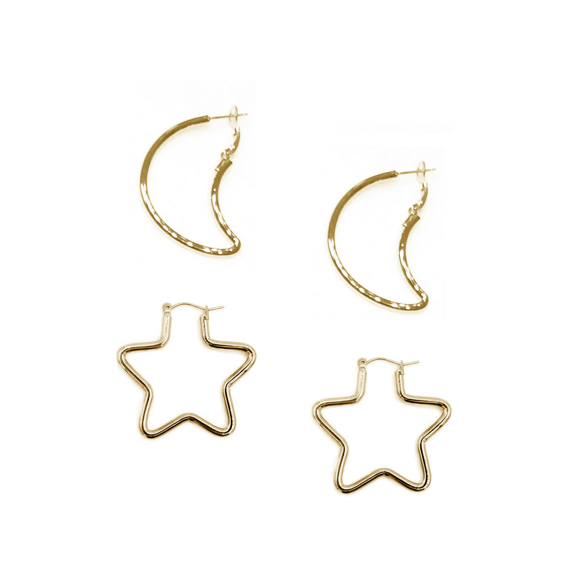 Small Star and Moon Earring Set, Bundle, Tuleste, Tuleste