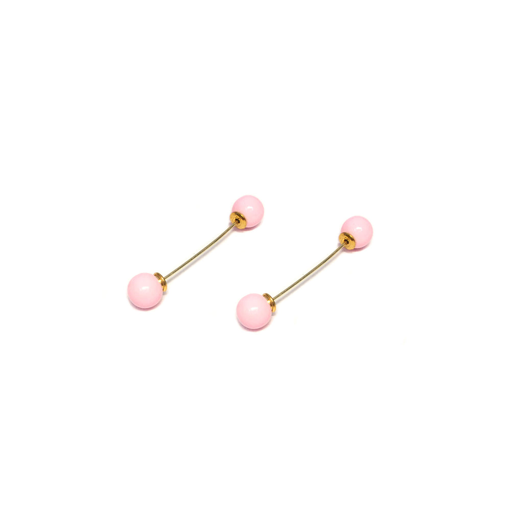 Gold/Pink Barbell Earring