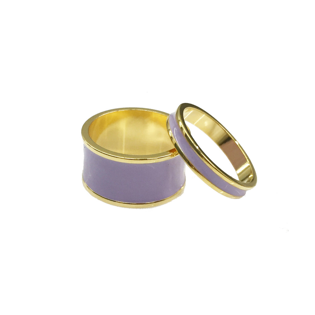 Lilac Enamel Ring Set