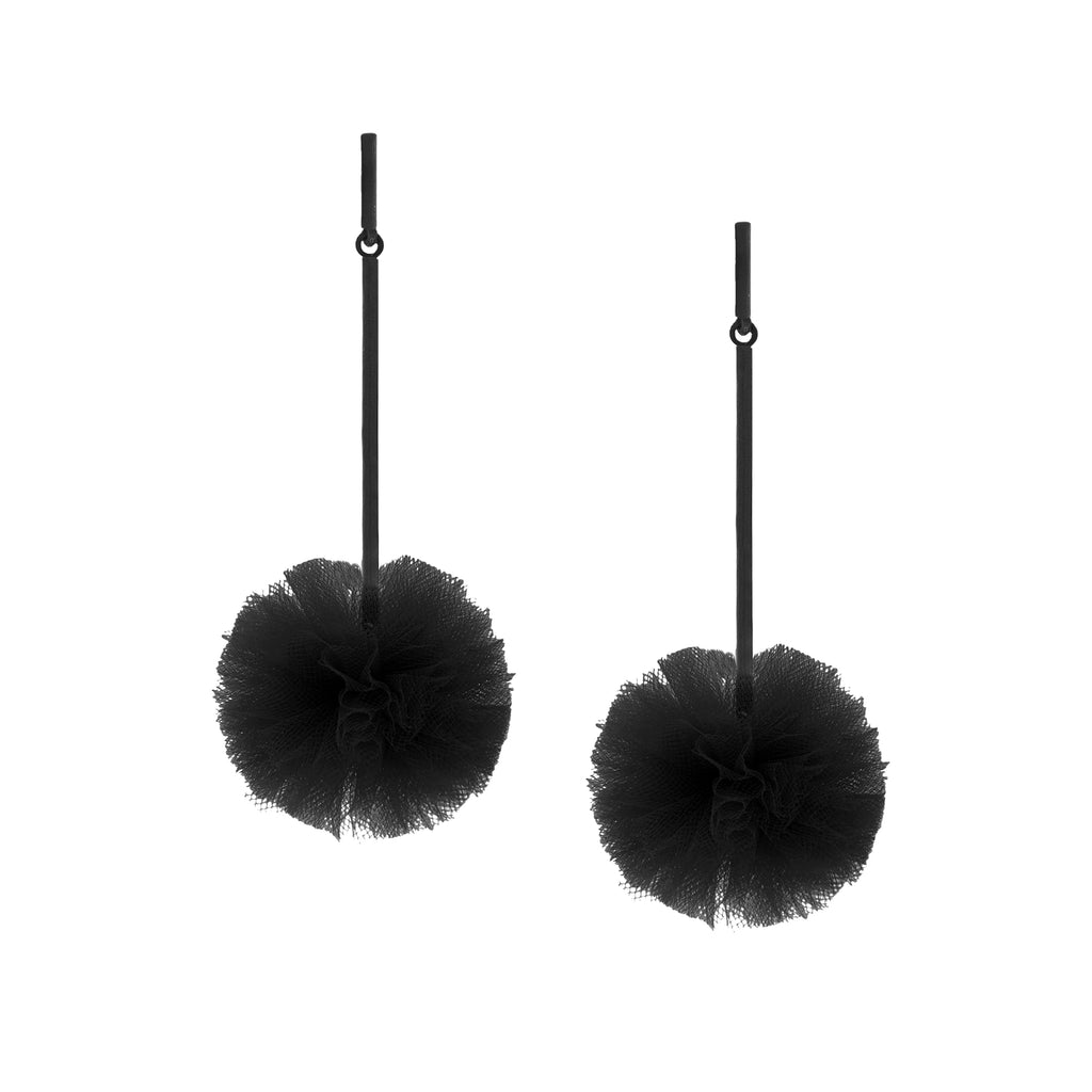 "Black 1"" Tulle Pom Pom Earrings, Earrings, Tuleste, Tuleste"