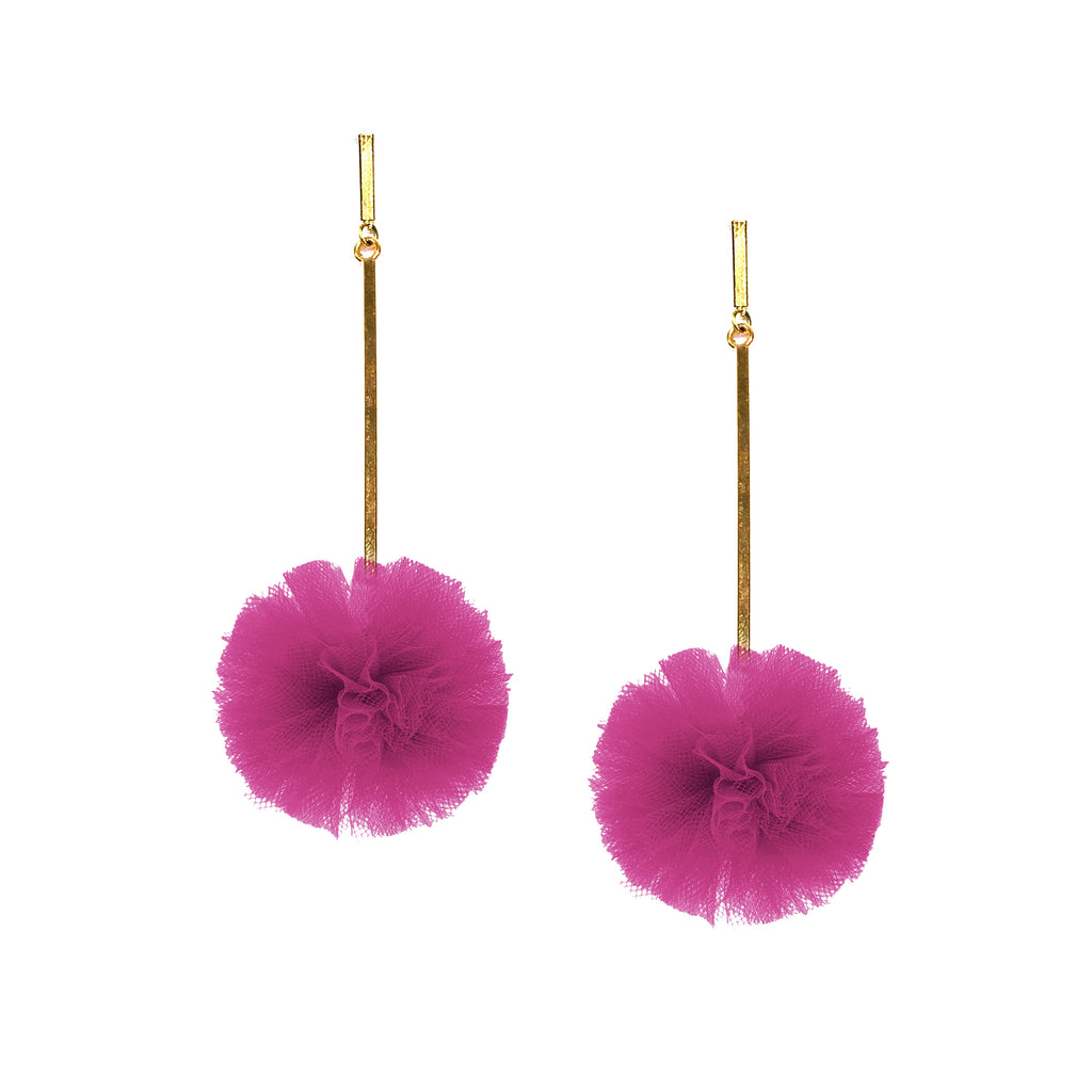 "Fuchsia 1"" Tulle Pom Pom Earrings, Earrings, Tuleste, Tuleste"
