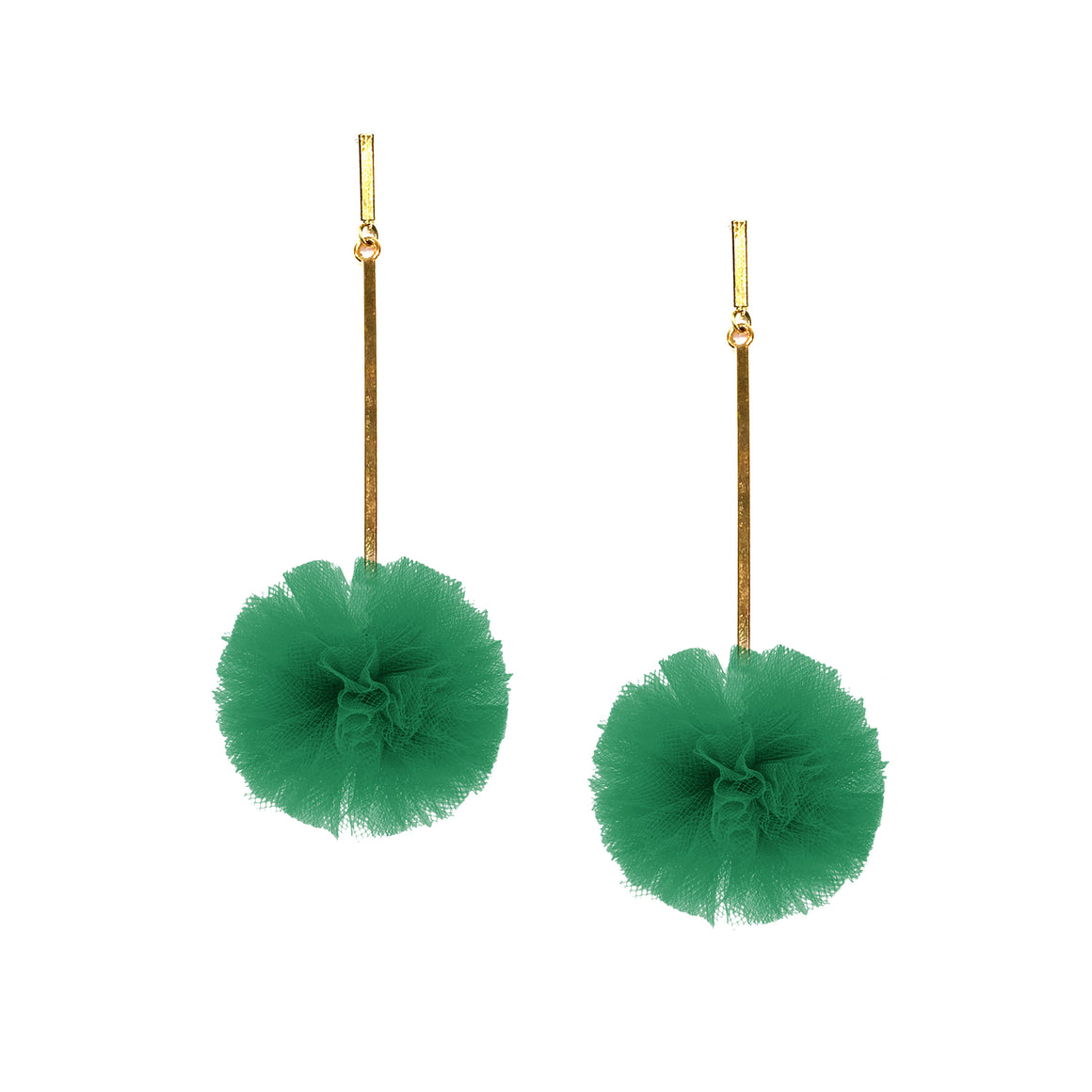 "Green 1"" Tulle Pom Pom Earrings, Earrings, Tuleste, Tuleste"