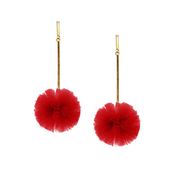 "Red 1"" Tulle Pom Pom Earrings, Earrings, Tuleste, Tuleste"