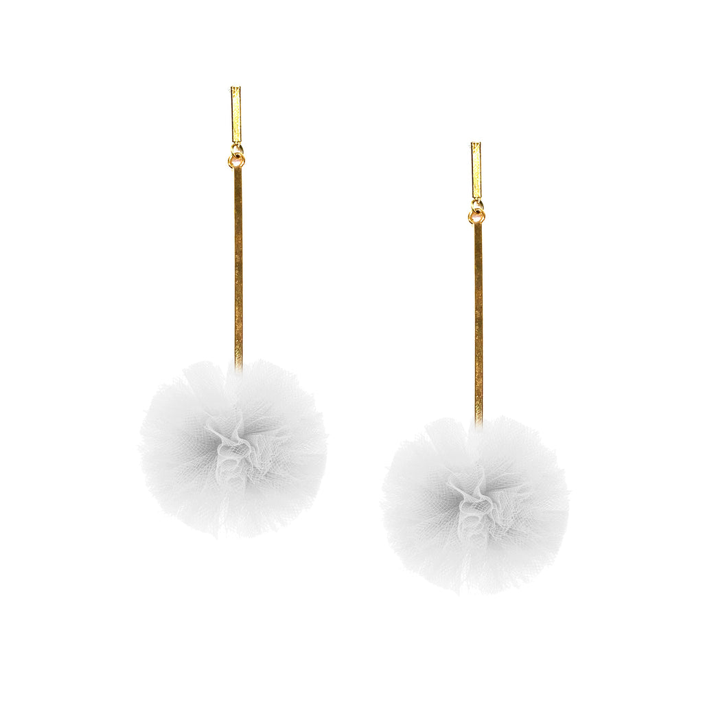 "White 1"" Tulle Pom Pom Earrings"