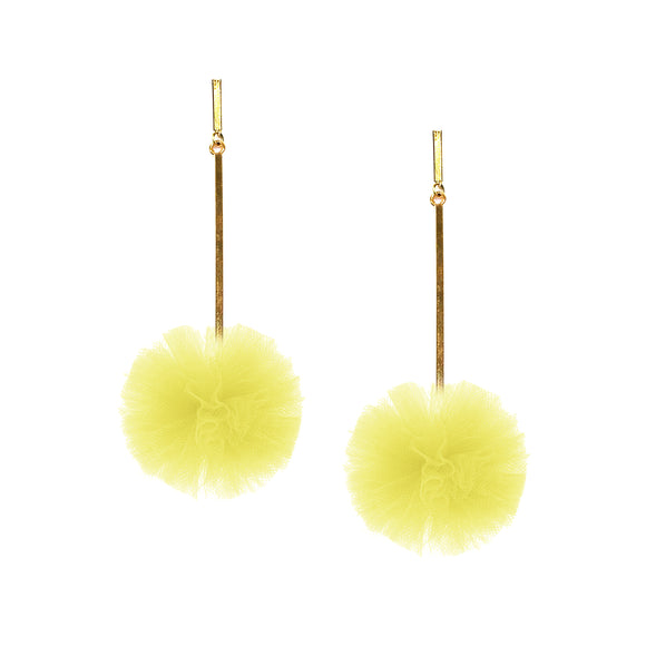 "Yellow 1"" Tulle Pom Pom Earrings, Earrings, Tuleste, Tuleste"