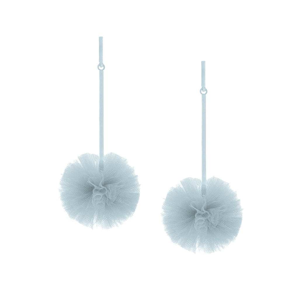 "Light Blue 1"" Tulle Pom Pom Earrings"