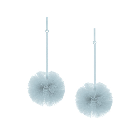 "Light Blue 1"" Tulle Pom Pom Earrings, Earrings, Tuleste, Tuleste"