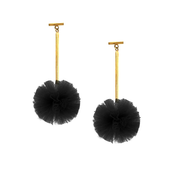 "Black 1"" Tulle Pom Pom T Bar Earrings, Earrings, Tuleste, Tuleste"