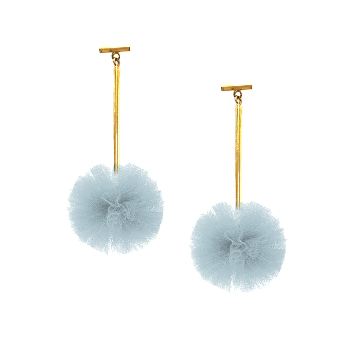 "Light Blue 1"" Tulle Pom Pom T Bar Earrings, Earrings, Tuleste, Tuleste"