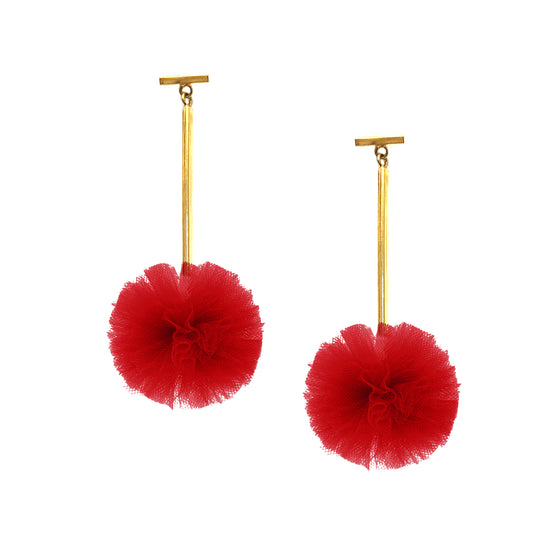 "Red 1"" Tulle Pom Pom T Bar Earrings, Earrings, Tuleste, Tuleste"