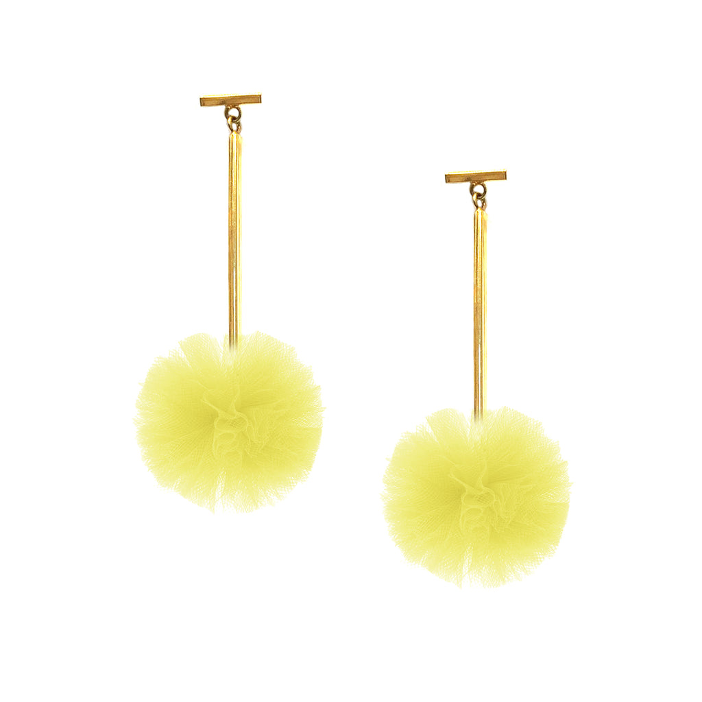 "Yellow 1"" Tulle Pom Pom T Bar Earrings"