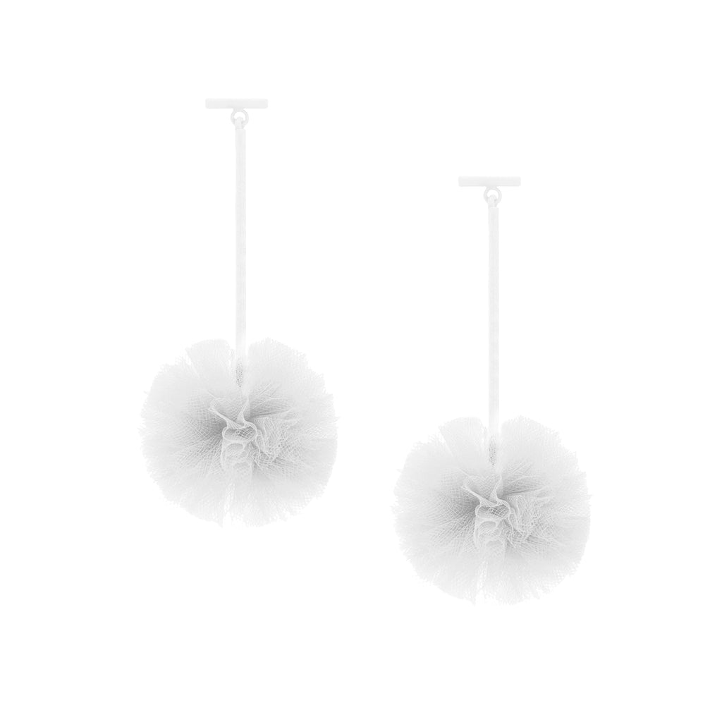 "White 1"" Tulle Pom Pom T Bar Earrings"