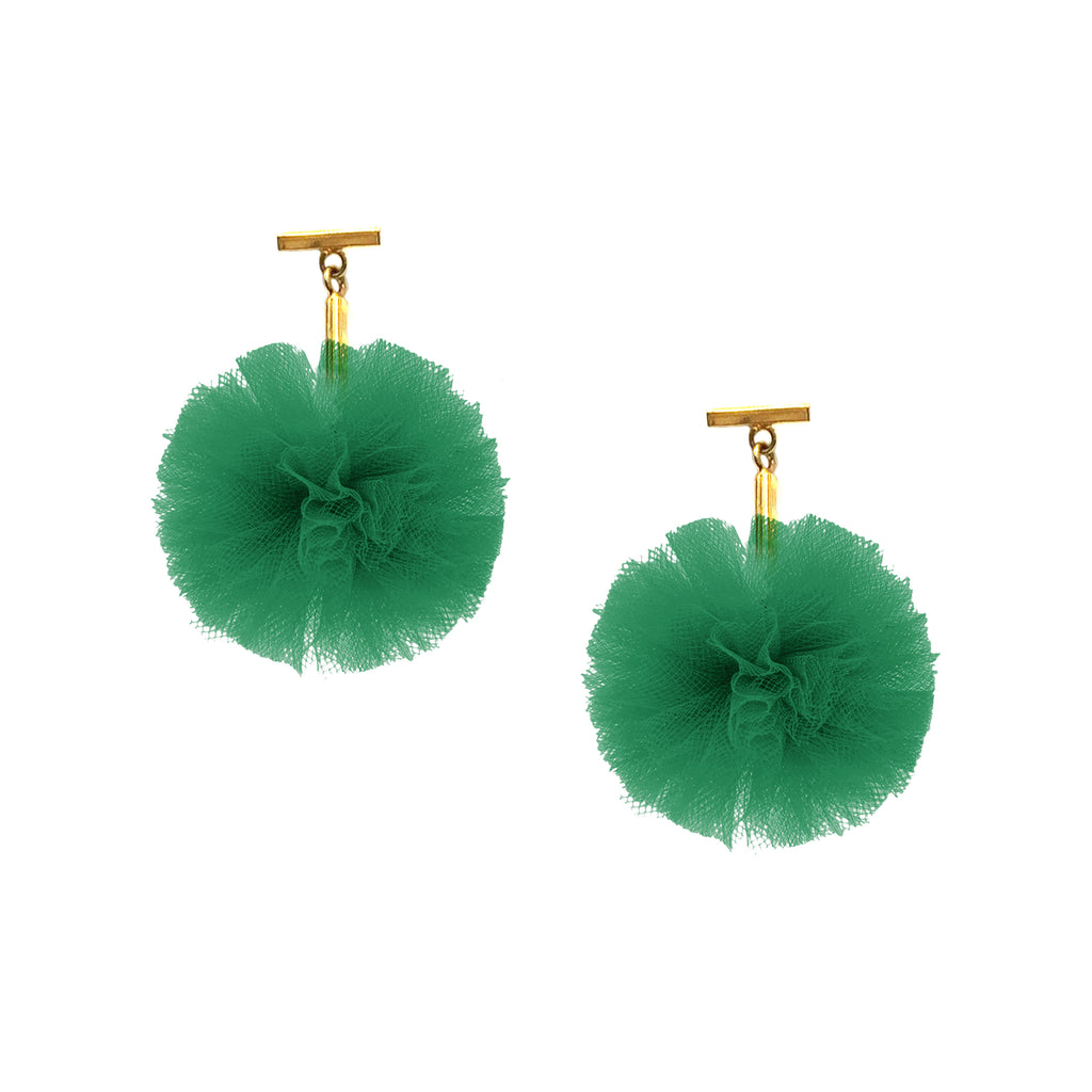 "Green 1"" Tulle Pom Pom T Stud Earrings, Earrings, Tuleste, Tuleste"