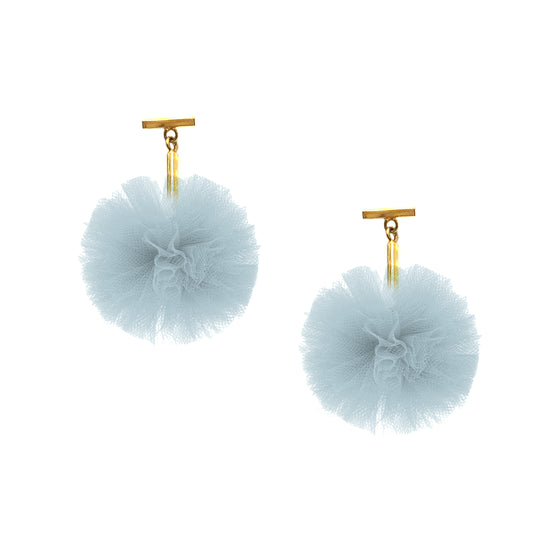 "Light Blue 1"" Tulle Pom Pom T Stud Earrings, Earrings, Tuleste, Tuleste"