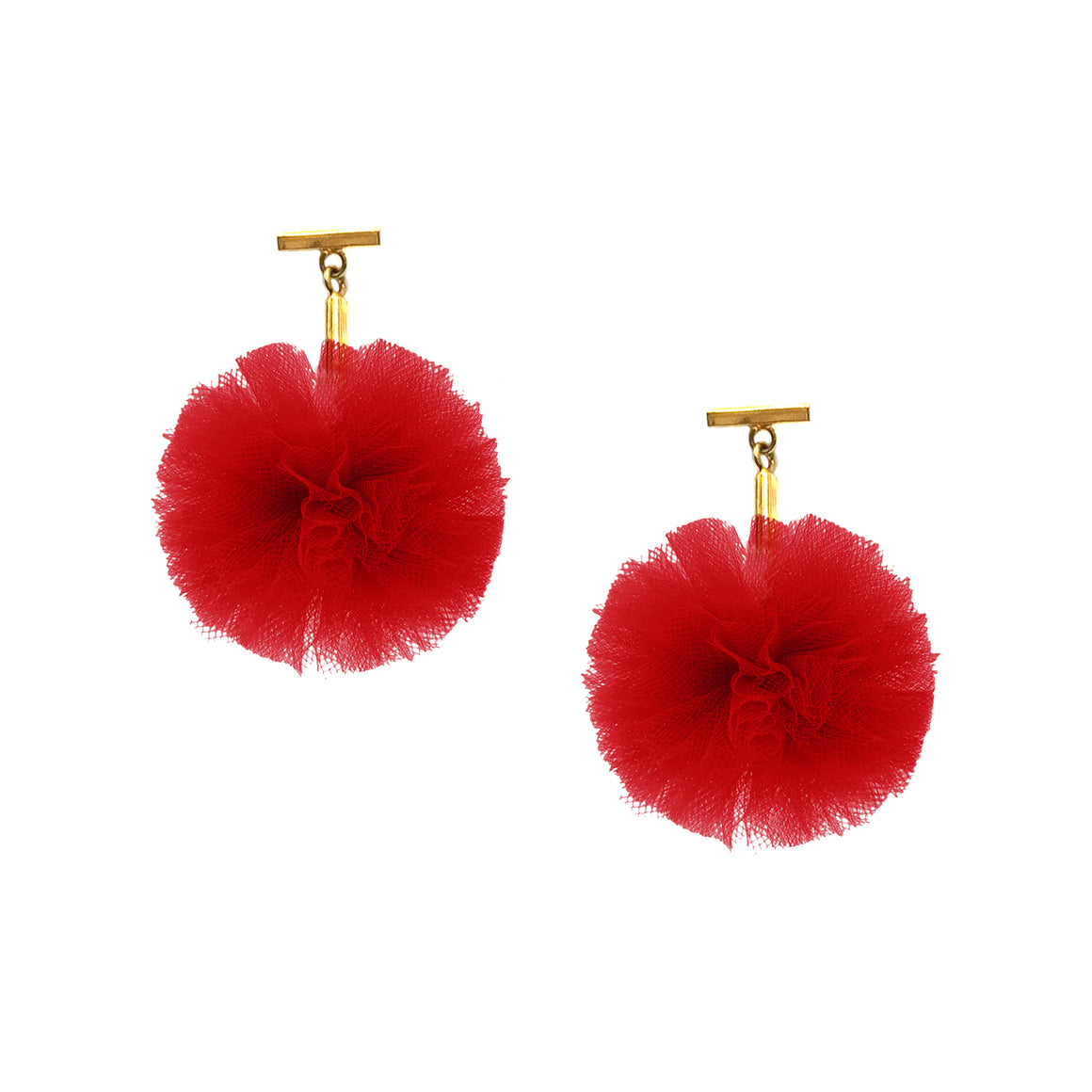 "Red 1"" Tulle Pom Pom T Stud Earrings, Earrings, Tuleste, Tuleste"