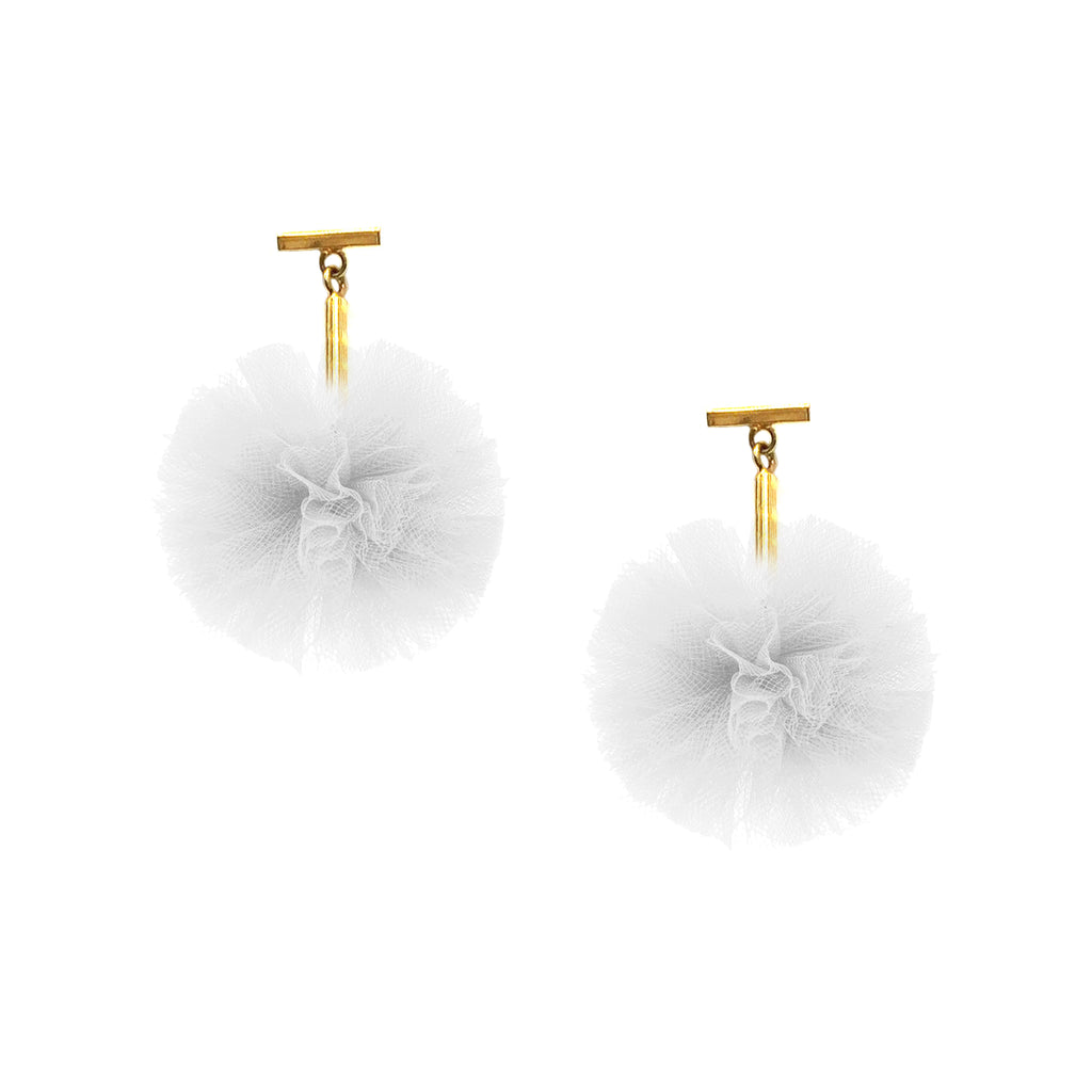 "White 1"" Tulle Pom Pom T Stud Earrings, Earrings, Tuleste, Tuleste"