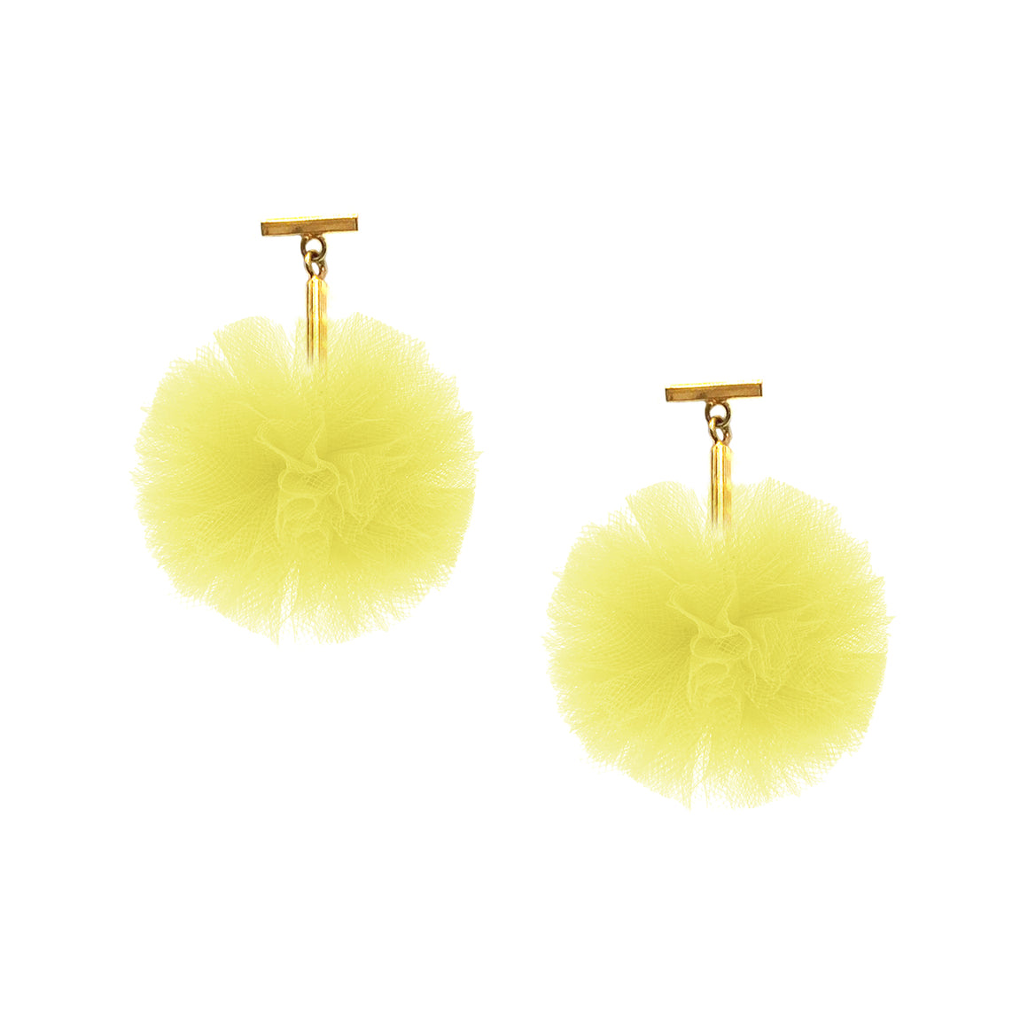"Yellow 1"" Tulle Pom Pom T Stud Earrings, Earrings, Tuleste, Tuleste"