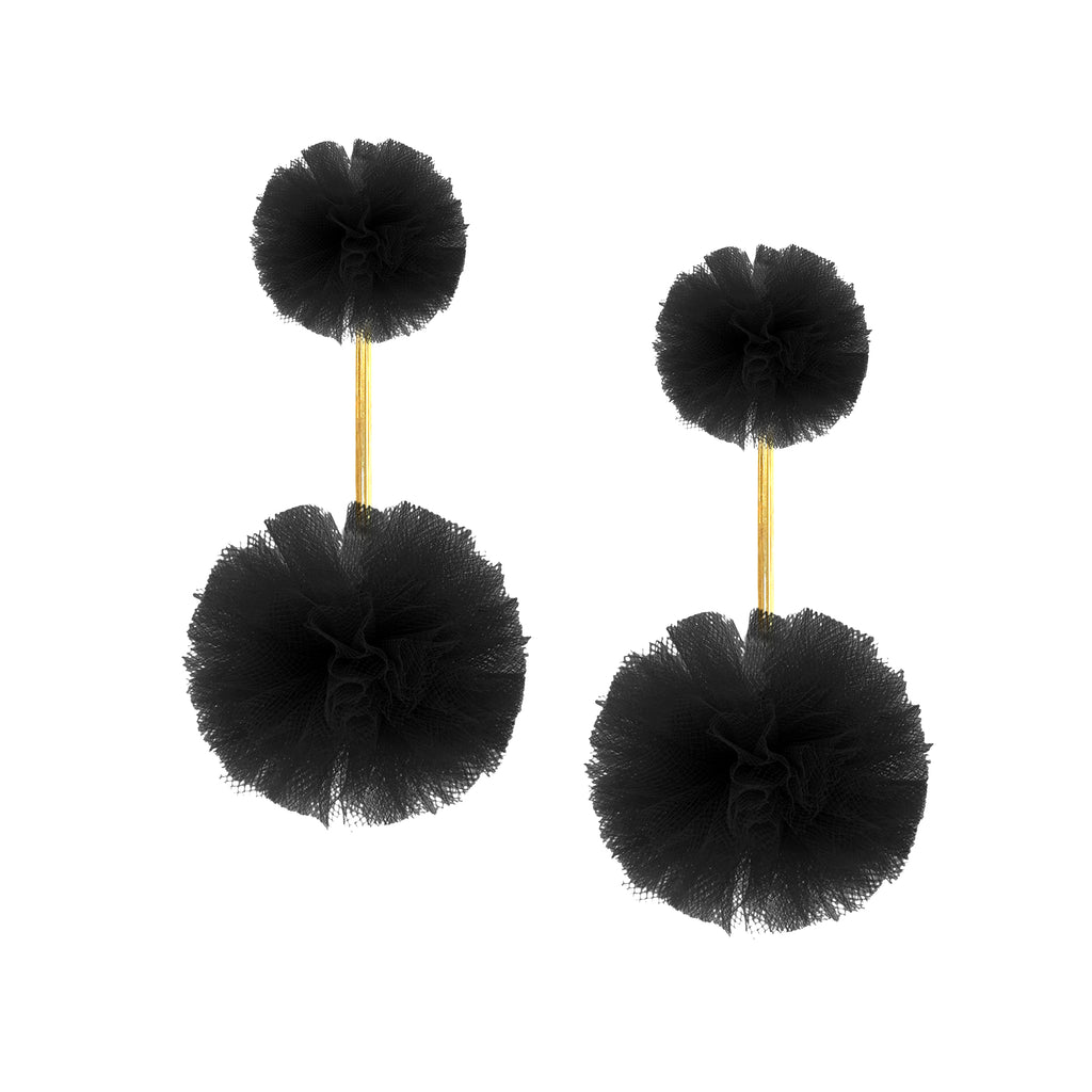 Black Tulle Double Pom Pom Earrings, Earrings, Tuleste, Tuleste