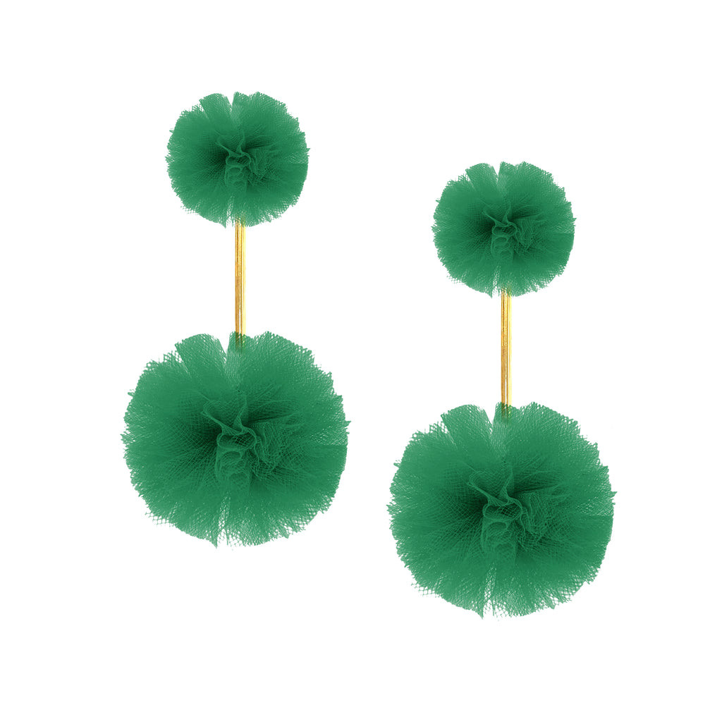 Green Tulle Double Pom Pom Earrings, Earrings, Tuleste, Tuleste