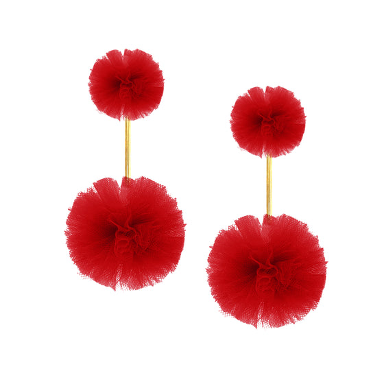 Red Tulle Double Pom Pom Earrings, Earrings, Tuleste, Tuleste