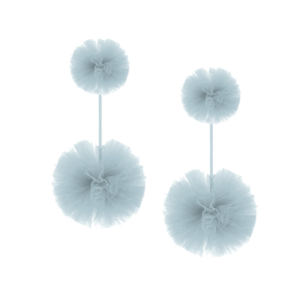 Light Blue Tulle Double Pom Pom Earrings, Earrings, Tuleste, Tuleste