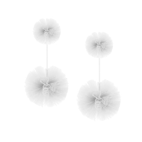 White Tulle Double Pom Pom Earrings, Earrings, Tuleste, Tuleste