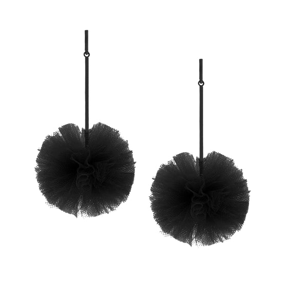 "Black 2"" Tulle Pom Pom Earrings, Earrings, Tuleste, Tuleste"