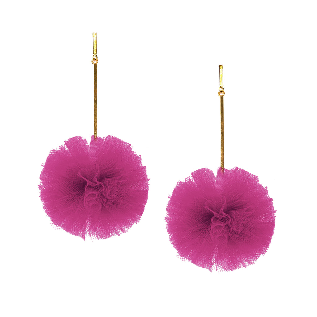 "Fuchsia 2"" Tulle Pom Pom Earrings, Earrings, Tuleste, Tuleste"