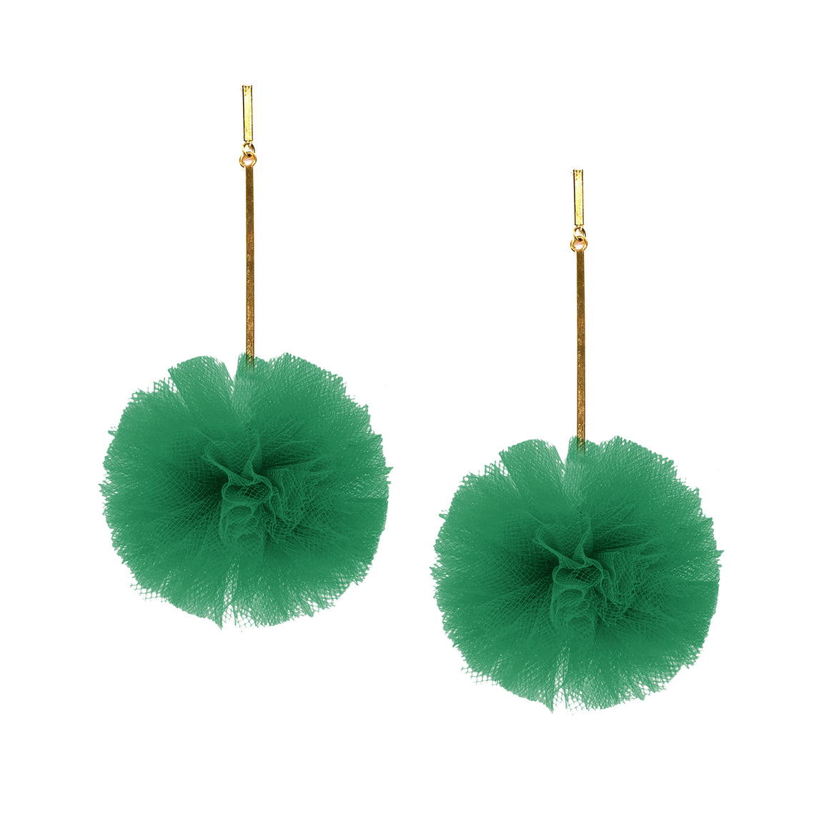 "Green 2"" Tulle Pom Pom Earrings, Earrings, Tuleste, Tuleste"