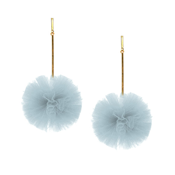 "Light Blue 2"" Tulle Pom Pom Earrings, Earrings, Tuleste, Tuleste"