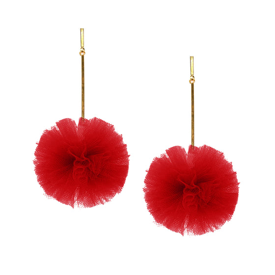 "Red 2"" Tulle Pom Pom Earrings, Earrings, Tuleste, Tuleste"