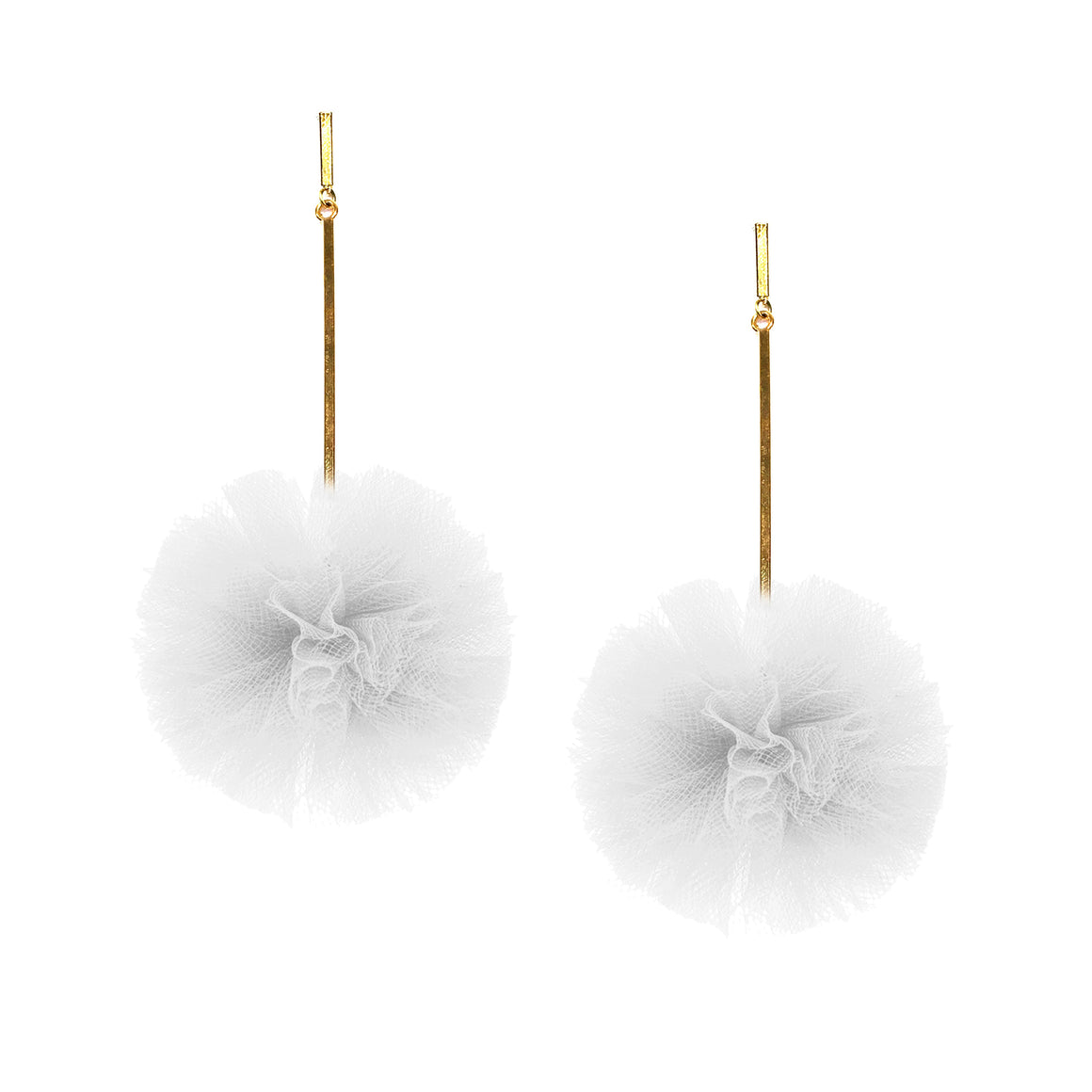 "2"" White Tulle Pom Pom Earrings, Earrings, Tuleste, Tuleste"