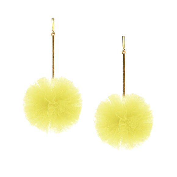 "Yellow 2"" Tulle Pom Pom Earrings, Earrings, Tuleste, Tuleste"