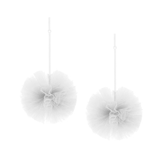 "White 2"" Tulle Pom Pom Earrings, Earrings, Tuleste, Tuleste"