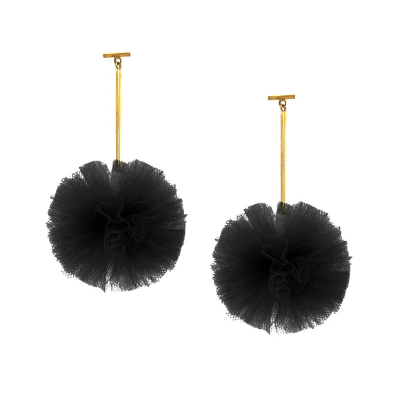 "Black 2"" Tulle Pom Pom T Bar Earrings, Earrings, Tuleste, Tuleste"