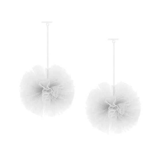 "White 2"" Tulle Pom Pom T Bar Earrings, Earrings, Tuleste, Tuleste"