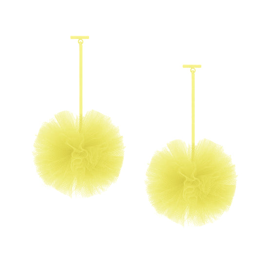 "Yellow 2"" Tulle Pom Pom T Bar Earrings, Earrings, Tuleste, Tuleste"
