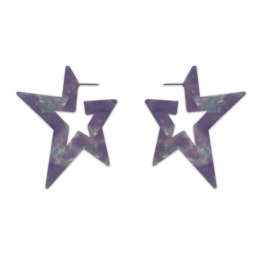 Resin Star Hoop Earrings, Earrings, Tuleste, Tuleste