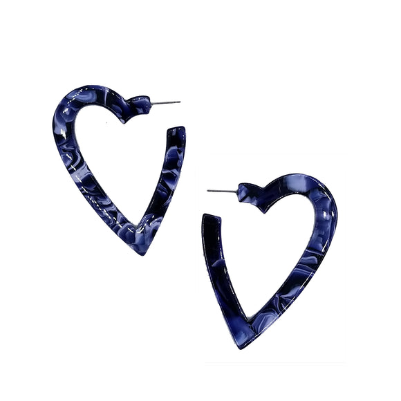 Resin Heart Hoop Earrings, Earrings, Tuleste, Tuleste