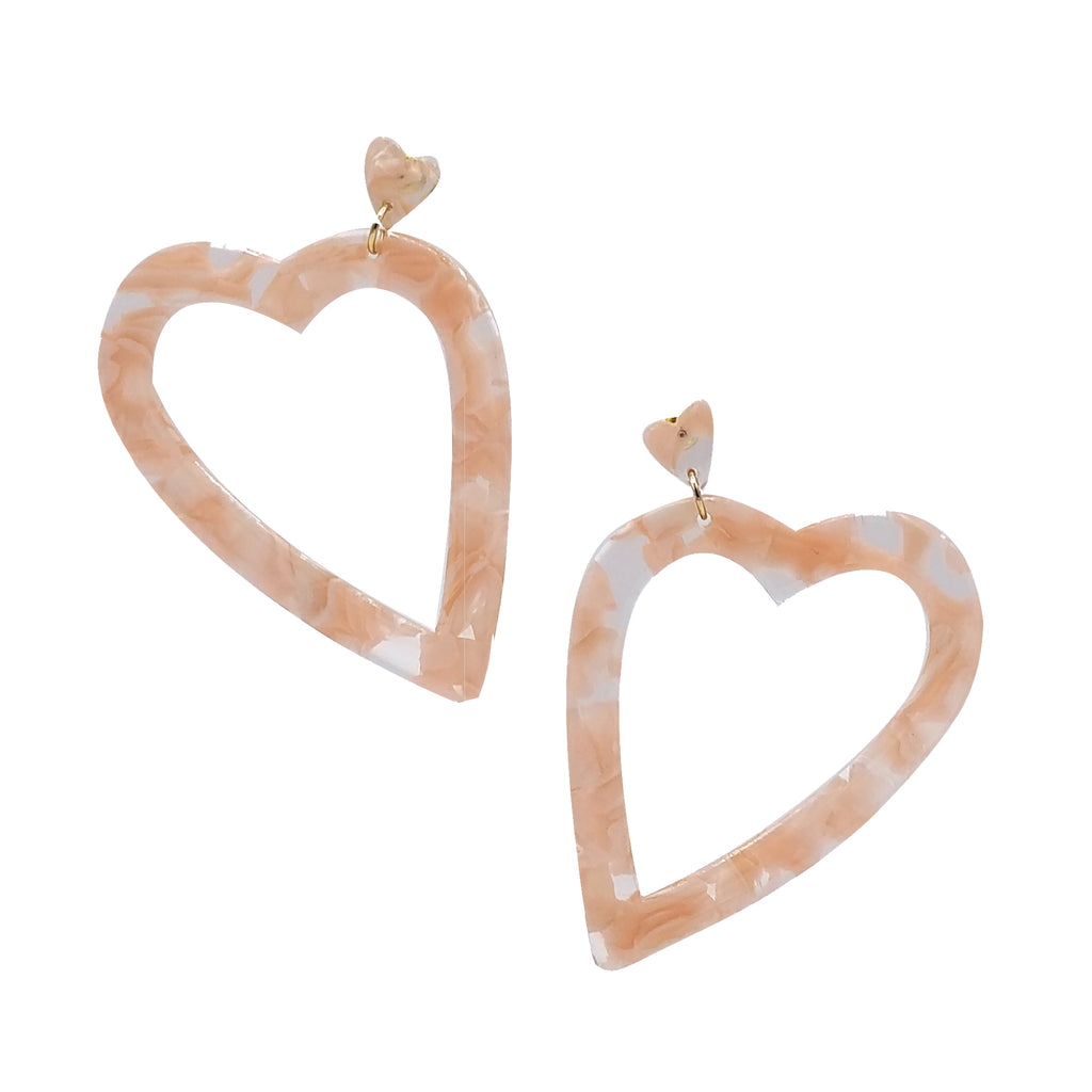 Resin Heart Dangle Earrings
