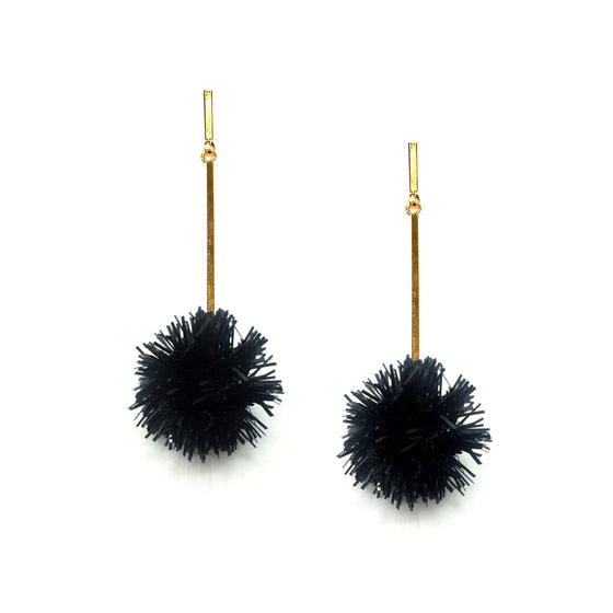 "Black 1"" Lurex Pom Pom Earrings, Earrings, Tuleste, Tuleste"