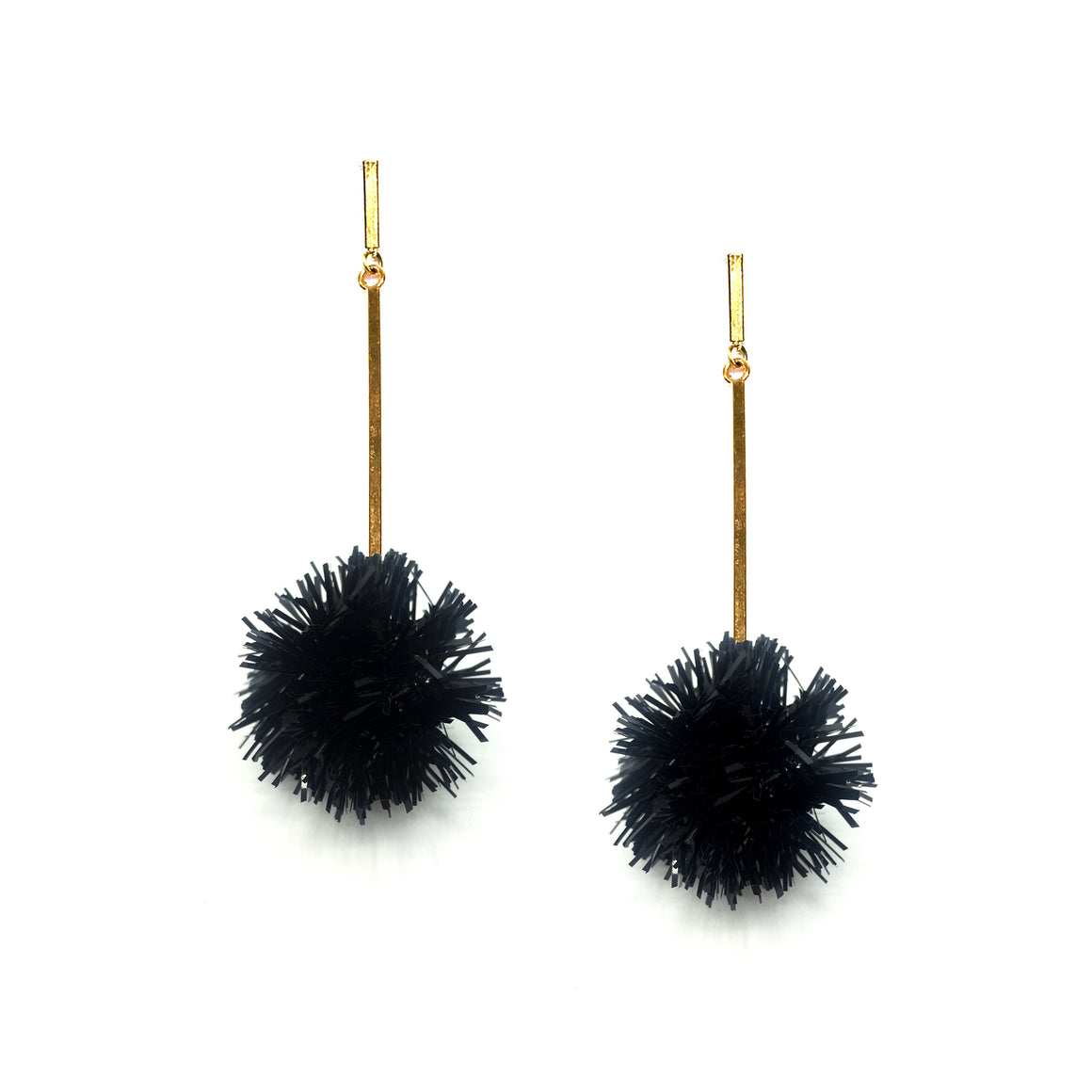 "1"" Black Lurex Pom Pom Earrings"