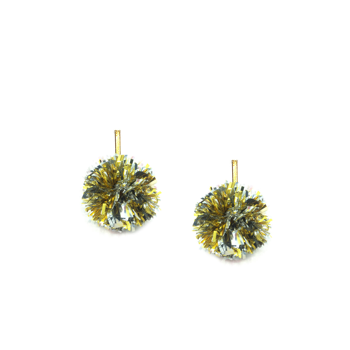 "1"" Gold and Silver Lurex Pom Pom Stud Earrings"