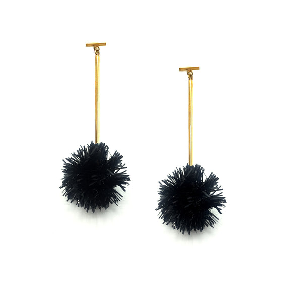 "Black 1"" Lurex Pom Pom T Bar Earrings, Earrings, Tuleste, Tuleste"