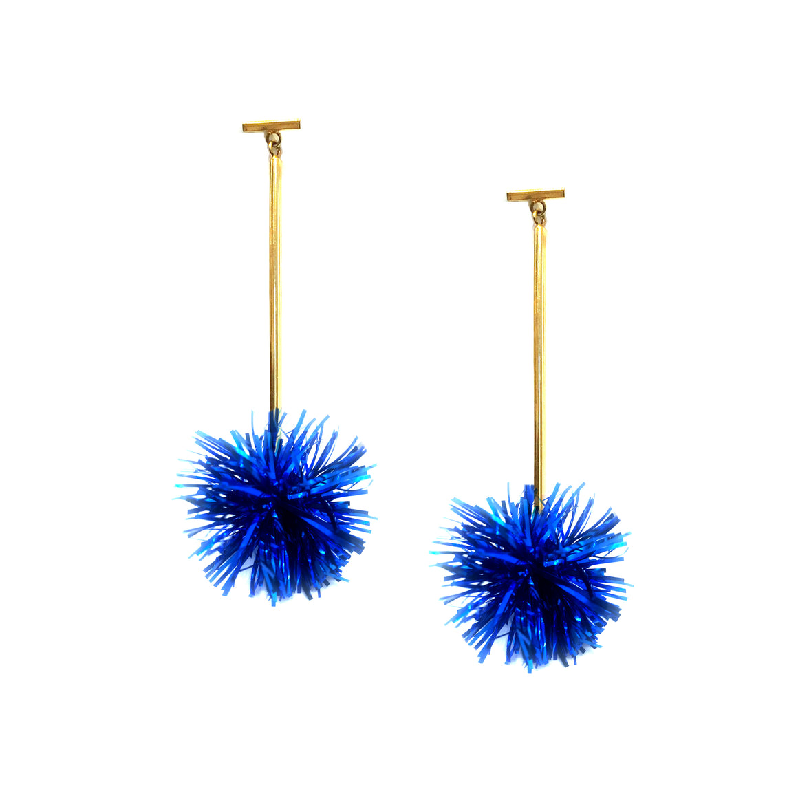 "1"" Cobalt Lurex Pom Pom T Bar Earrings, Earrings, Tuleste, Tuleste"