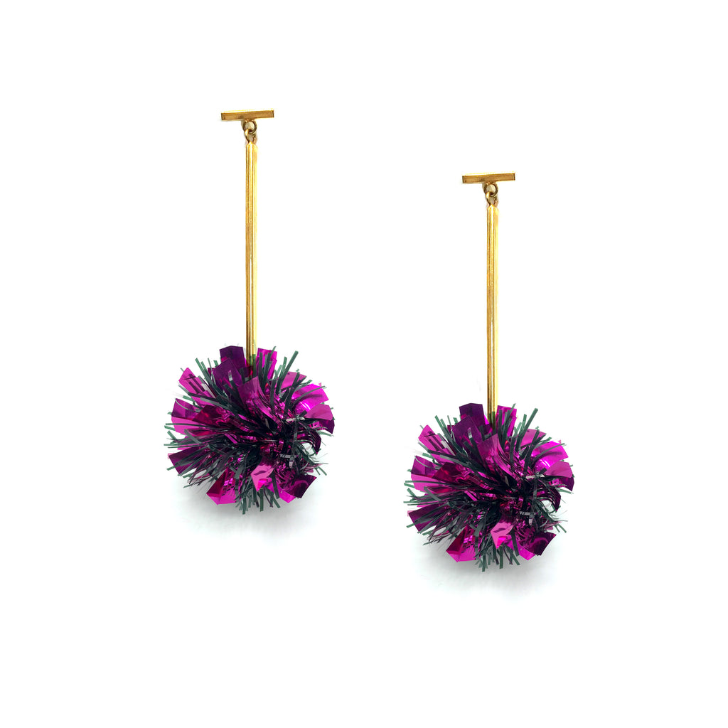 Fuchsia Lurex Pom Pom T Bar Earrings, Earrings, Tuleste, Tuleste
